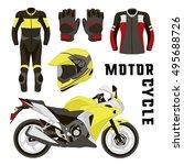 vector set of motorcycle... | Shutterstock .eps vector #495688726