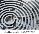 complicated maze. 3d rendering | Shutterstock . vector #495693292