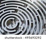 complicated maze. 3d rendering   Shutterstock . vector #495693292