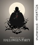 elegant vampire silhouette on a ... | Shutterstock .eps vector #495697126