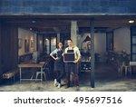couple barista coffee shop... | Shutterstock . vector #495697516