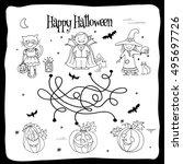 happy halloween coloring sheet...   Shutterstock .eps vector #495697726