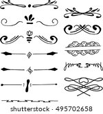 collection of handdrawn borders ...   Shutterstock .eps vector #495702658