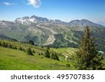 a green sunny meadow in french... | Shutterstock . vector #495707836