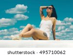 fashionable woman with tattoo... | Shutterstock . vector #495710062