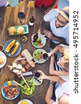 group of people dining concept | Shutterstock . vector #495714952