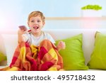 excited boy  kid watching tv at ... | Shutterstock . vector #495718432
