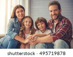 beautiful young parents and...   Shutterstock . vector #495719878
