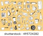 food doodles | Shutterstock .eps vector #495724282