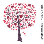 tree with hearts | Shutterstock .eps vector #495724486