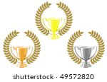 Set of cups with laurel wreath for sport design. Vector version also in portfolio - stock photo