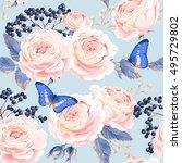 seamless vintage flowers | Shutterstock .eps vector #495729802