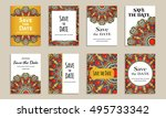 save the date. set of cards... | Shutterstock .eps vector #495733342