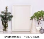 picture frame christmas mockup  ... | Shutterstock . vector #495734836