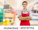 portrait of smiling shopman... | Shutterstock . vector #495737752
