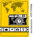 travel vector set of camera ... | Shutterstock .eps vector #495739486