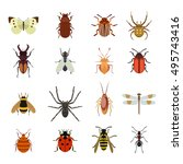 insect vector icons flat set... | Shutterstock .eps vector #495743416