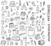 hand drawn doodle set of... | Shutterstock .eps vector #495758632