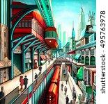 illustration of a city street... | Shutterstock . vector #495763978