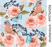 seamless vintage roses | Shutterstock .eps vector #495764206