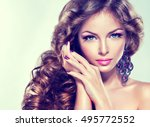beautiful model girl with long... | Shutterstock . vector #495772552