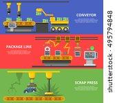flat industrial manufacture... | Shutterstock .eps vector #495794848