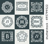 big set of luxury monogram... | Shutterstock .eps vector #495799522