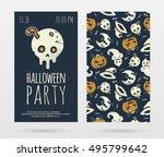 vector halloween party... | Shutterstock .eps vector #495799642