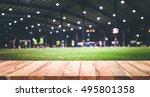 wood table top with blur indoor ... | Shutterstock . vector #495801358