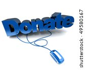 3D rendering of the word donate in blue connected to a computer mouse - stock photo