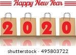 2020 annual year vector. happy... | Shutterstock .eps vector #495803722