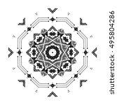 snowflake. mandala. tribal folk ... | Shutterstock .eps vector #495804286