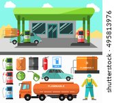 gas station icons. refueling... | Shutterstock .eps vector #495813976