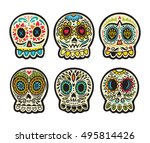set of illustrations with... | Shutterstock .eps vector #495814426
