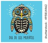 greeting card with sugar skull... | Shutterstock .eps vector #495814462