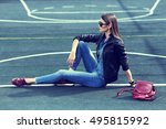 young stylish hipster woman... | Shutterstock . vector #495815992