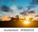 silhouette family of... | Shutterstock . vector #495818152