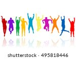 group of young people... | Shutterstock . vector #495818446