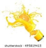 splashing orange juice with... | Shutterstock . vector #495819415