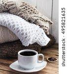 knit cozy sweater folded in a... | Shutterstock . vector #495821635