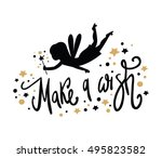 fairy black silhouette with a... | Shutterstock .eps vector #495823582