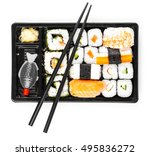 sushi menu in black transport... | Shutterstock . vector #495836272