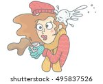 funny vector cartoon of woman... | Shutterstock .eps vector #495837526