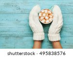 Woman Hands In Mittens Hold Cu...
