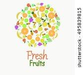 fruit vector circle on a white... | Shutterstock .eps vector #495839815