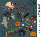 halloween witch's set | Shutterstock .eps vector #495843442