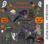spooky halloween set | Shutterstock .eps vector #495843466
