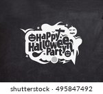 happy halloween greeting card... | Shutterstock .eps vector #495847492