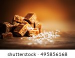 salted caramel pieces and sea... | Shutterstock . vector #495856168