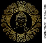 hand drawn gold buddha head... | Shutterstock .eps vector #495860488